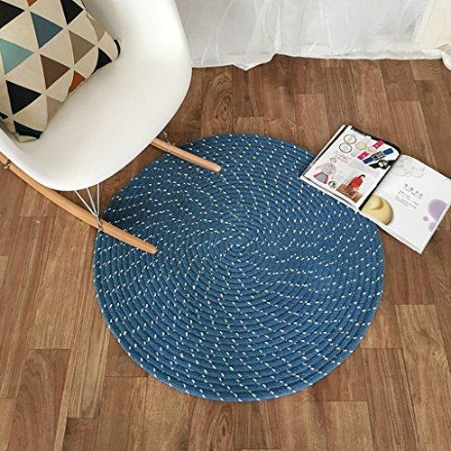 YL Teppich Teppich runde Matte Weben Seil Computer Stuhl Kissen Korb Pad Wohnzimmer Schlafzimmer Studie Teppich Tatami Hause blau Beige grau (Color : A, Size : Diameter 150CM) (Blauen Teppich Und Seile)