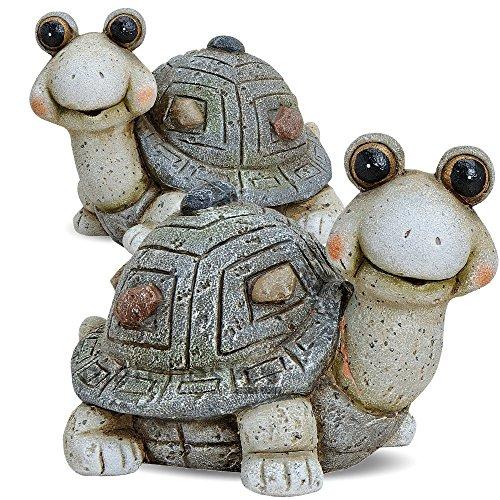 matches21 Niedliche Schildkröte Garten Dekofigur Ton Figur 1 STK. mit großen Glubbschaugen und dekoriertem Panzer je 20x14x15 cm - Ton Garten