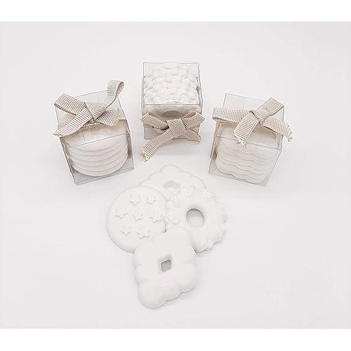 Niri Natura Artigiana Set di 10 scatolette biscotti di gesso profumati bomboniere segna posto regali per eventi profuma cassetti