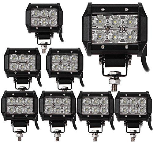 8pcs 18W Projecteur Phare de Travail,ALPHA DIMA 12V 24V Imperméable IP67 Feux Antibrouillard LED Flood LED pour Camion,Off Road,4x4,SUV,UTV,VTT,Bateau,Moissonneuse,etc.