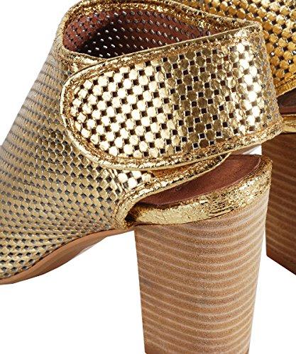 Jeffrey Campabell Quebec Gold Sandal Or Ajourées Sandales-Talon en Bois Or - Or