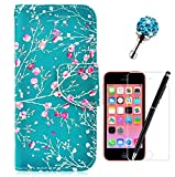 GrandEver Wallet PU Leather Case for iPhone 5C Flip Cover Wintersweet Flower Blue Pattern Folio Case Book Style Shell Holster Credit Card Slots Holder Stand Function Magnet Closure Anti-Drops Dustproof Protective Shell + {Stylus Pen}+ {Dust Plug}+ {Screen Protector}