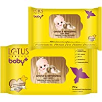 Lotus Herbals Gentle and Refreshing Baby Wipes (72 Count) & (10 Count)