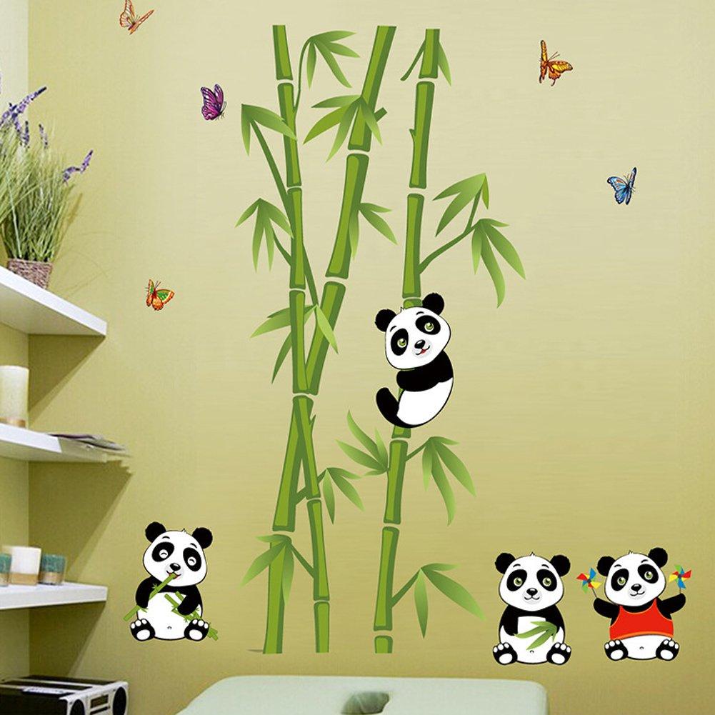 Wallpark Niedlich Pandas Bambus Schmetterlinge Abnehmbare