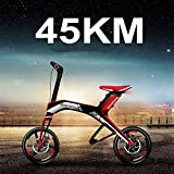 Portable Electric Bicycle Electric Bike Folding Mini Ebike Scooter16' 300W, 48V/4.4AH Lithium Battery (red, 45km)