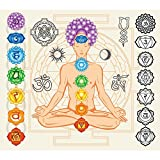 #10: Pitaara Box Man With Chakras And Esoteric Symbols - MEDIUM Size 22.8 inch x 20.0 inch - UNFRAMED SELF-ADHESIVE PEEL & STICK GLOSSY LAMINATED PVC VINYL WALL STICKERS & WALL DECALS : Wall Paintings : DIGITAL PRINT Wall Posters Artwork like Hand Paintings : Decorative Home Interior Wall Décor Photo Gifts for Bedroom, Living Room, Drawing, Dining Room, Kitchen, Office, Reception, Bathroom, Outdoor, Gallery, Hotels, Restaurants, & Balcony : Religious, Traditional : Digital Art
