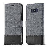 muxma Samsung Galaxy S8 Textilgewebe Kunstleder Tasche Schutzhülle Handyhülle Visitenkartenfach und Standfunktion (Schwarz)