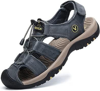 FLARUT Sandali Estivi Uomo Esterni PelleTraspirante Sandali Sportivi Scarpe da Trekking Passeggiata Fisherman Casual Sneakers Antiscivolo