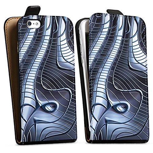 Apple iPhone X Silikon Hülle Case Schutzhülle Metall Eisen Struktur Downflip Tasche schwarz