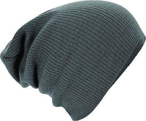 Slouch Beanie, Winter Skimütze gerippt, Grau - Smoke, one size
