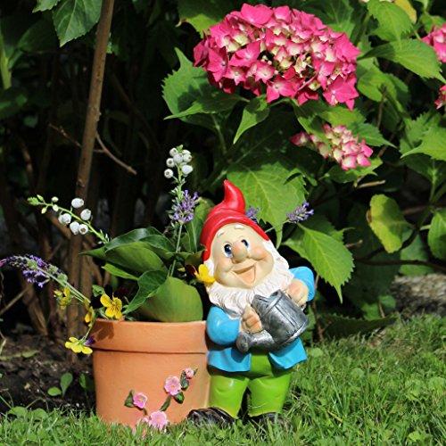 Gartenzwerg mit Pflanztopf 21cm Gartendeko Statue Zwerg Figur - 6