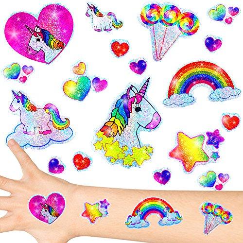 German Trendseller® - Kleine Einhorn Glitzer Sticker Bögen ┃ NEU ┃ Einhorn ┃ Kindergeburtstag ┃ Mitgebsel ┃ Regenbogen ┃ Aufkleber für Kinder ┃ 12 Bögen - 6