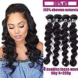 4 Tissage bresilien en lot cheveux naturels boucle (loose wave) pas cher human hair 50g/paquet virgin hair 22pouces(55cm)