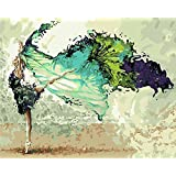 CaptainCrafts New DIY Paint by Numbers 16x20  for Adults Beginner kit, Kids LINEN Canvas - Abstract Painting, Ballet Dancing