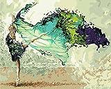 CaptainCrafts Neu DIY Ölgemälde von Numbers Kit 16x20 für Erwachsene Anfänger Kinder, Neue Kreative DIY Digitale Ölgemälde Kinder Linen Leinwand - Abstrakte Malerei, Ballett Tanzen (mit Rahmen)