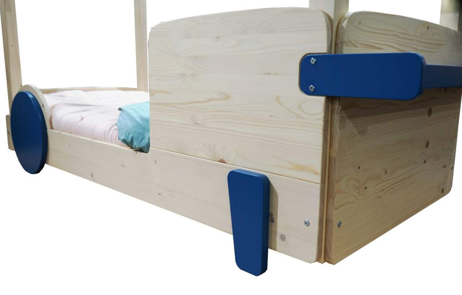 Hyggelia House wooden bed Merkury for children, for teenagers, MDF accessories, furniture for the bedroom (80 x 180cm, Painted (Choose Color)) Hyggelia Additional kits to convert into a bunk bed, or to receive the pul-out bed Colour: Natural wood or Choose a color from the color palette (photo in the gallery) It is available in natural varnish and 27 water based lacquers. 6