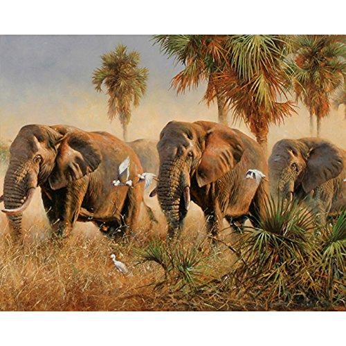 elzeug Wilde Elefanten Tier DIY Digitales Malen Nach Zahlen Moderne Wandkunst Leinwand Malerei Weihnachten Einzigartiges Geschenk Wohnkultur ()