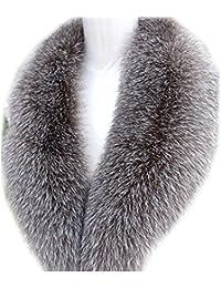 Las mujeres de largo desmontable auténtica de piel de zorro cuello bufanda chal calentador tamaño 75–100cm plateado plata The lining is 110 cm long