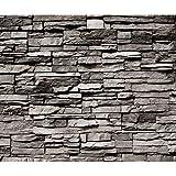 decomonkey Fototapete selbstklebend Steinwand grau Steine 245x175 cm Selbstklebende Tapeten Wand Fototapeten Tapete Wandtapete klebend Klebefolie Steintapete Steinmauer Stein Steinoptik 3D Mauer