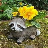Gartendeko Gartenfigur Pflanztopf Schuh Blumentopf Übertopf Waschbär Tiere Wildlife Deko Figur