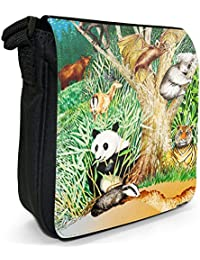 Wildlife In Forest Bats, Koalas, Tigers, Badgers Small Black Canvas Shoulder Bag / Handbag