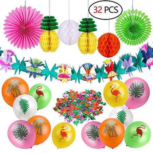 Howaf 33 stücke Sommer Tropical Party Dekorationen Kit Blumen Girlande Hawaii Party Deko Banner Ananas Wabenbälle Seidenpapier Fan und Tropische Ballons Flamingo Konfetti