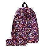TTD Galaxy Pattern Kinder Mädchen Jungen Schulbeutel Rucksack Leichtgewicht für Wandern Reisen Camping-Blume