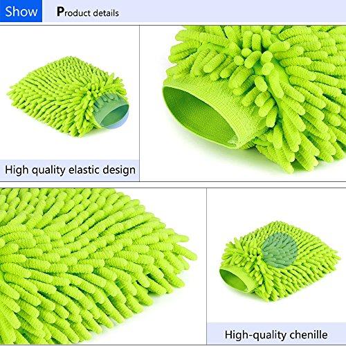 Mture Wasserdicht Mikrofaser Waschhandschuh, (2 Pack) weicher Korallen Autowaschhandschuh Chenille Waschhandschuh Polierer Auto Motorrad 26 x 19 cm Grün - 3