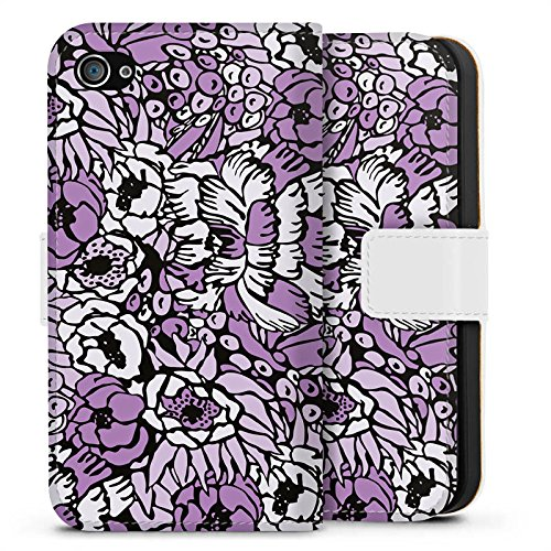 Apple iPhone X Silikon Hülle Case Schutzhülle Flower Muster Lila Sideflip Tasche weiß