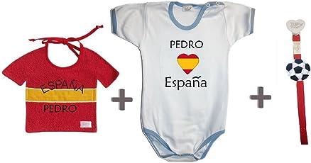 Zigozago - Weltmeisterschaft Spanien personalisiert Set zusammengestellt von Lätzchen + Spielanzug + Schnullerkette.