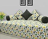 AURAVE Green & Yellow Floral Textured Cotton Diwan Set (8 pc set)