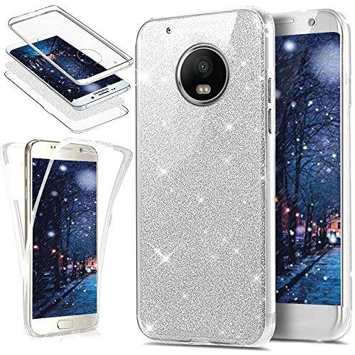 Uposao Kompatibel mit Motorola Moto G5 Plus Hülle Vorne & Hinten 360 Grad Case Kristall Bling Glänzend Glitzer Durchsichtig Klar Transparent TPU Silikon Schutz Schutzhülle Handyhülle,Silber