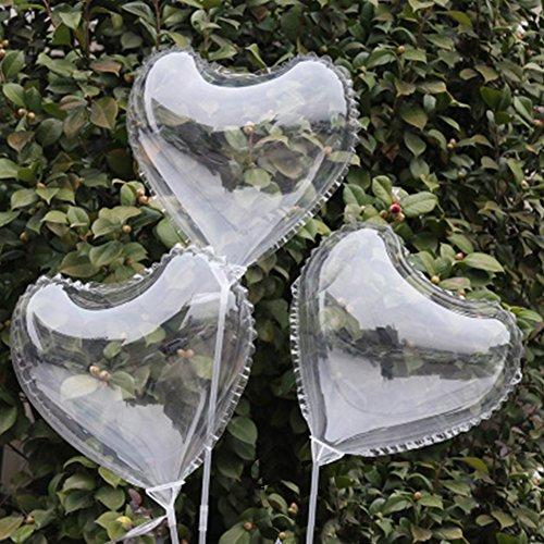 MAJGLGE - Globo LED Luminoso Transparente Redondo con Forma de corazón para decoración de Fiesta Boda – Redondo, Heart*