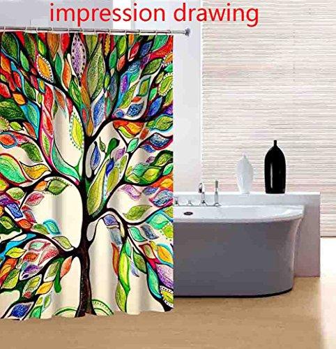 Moderna cortina para ducha Cortina impermeable del cuarto de baño 180*180cm, Las hojas misteriosas