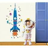 ufengke® Fusée de Bande Dessinée Vaisseau Spatial Extraterrestre Toise Stickers Muraux Bricolage (80-170cm) (31-60in), la Cha