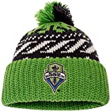 Seattle Sounders FC adidas Logo Cuffed Knit Hat with Pom - Navy/Rave Green - MLS