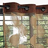 #7: Exporthub 2 Piece Fancy Sparkling Sheer Strip Premium Net Curtains - Brown, Coffee (EHSPR658)