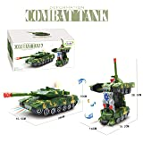 Jiada Deformation Combat Tank Transform Robot Toy with Light, Music and Bump Function