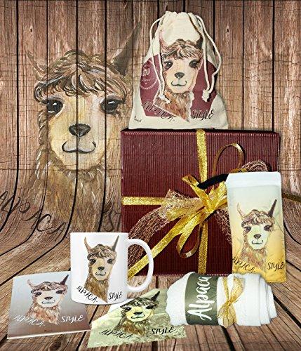 Sunnywall Alpaca Style Alpaka | gefüllte Geschenkbox Geschenk-Set Tasse, Beutel, Seife, Handtuch, Geschenkkarte Geschenkset – Mitbringsel Geschenkidee Präsentkorb Präsentbox