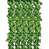 CozofLuv 12 Stück 2.3M Künstliche Grün Fake Efeublatt Efeu Girlanden Ivy Blätterkranz Hängen für Hochzeit Party Garten Wanddekoration