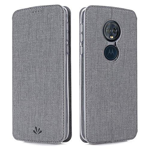 Eastcoo Handyhülle für Motorola Moto G6 Play Hülle PU Leder Flip Case Tasche Cover Schutzhülle mit [Standfunktion][Magnetic Closure][Wallet] für Motorola Moto g6 Play Smartphone (Gray)