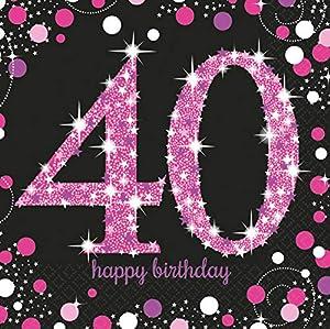 Amscan-990060333cm Servilletas con motivo de celebración de 40º cumpleaños