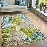 Paco Home Designer Teppich Wohnzimmer Urban Jungle Palmen Design Braun Beige Grün Blau, Grösse:160x220 cm