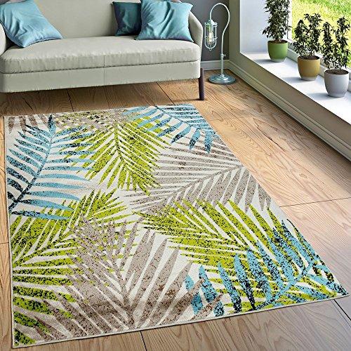 Paco Home Designer Teppich Wohnzimmer Urban Jungle Palmen Design Braun Beige Grün Blau, Grösse:120x170 cm - Grün Und Braun-teppiche