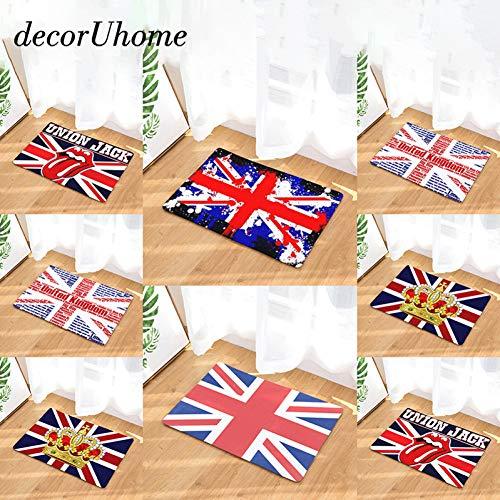 HIUGHJ Teppich, wasserdicht, Motiv: England-Flagge, für Küche, Schlafzimmer, dekorative Stufenmatten, 2, 400mm x 600mm