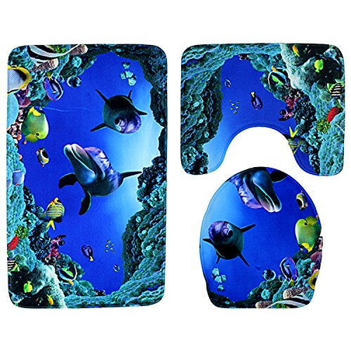 Boodtag Badematten Set 3 Teilig Teppich Rutschfest Bad-Teppich + Pedestal-Teppich + Toiletten-Abdeckung Unterwasserwelt Badteppich Blau (C, 47 x 78cm)