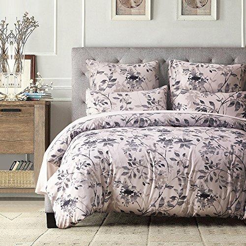 FORCHEER leicht Mikrofaser Bettbezug Set, Floral Print Muster Tagesdecke Überwurf Set, 3 teilig Oversize Quilt Set mit Kissen/Bezügen, Microfaser, Pattern #78348, Doppelbett (Komplett Bett-set Microfaser)