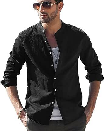LVCBL Mens Casual Cotton Shirt Long Sleeve Band Collar Henley Shirt Tops