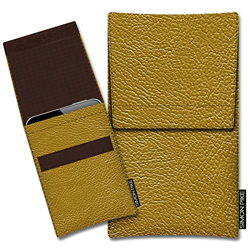 SIMON PIKE Kunstleder Tasche Sidney, kompatibel mit Siswoo A5 Chocolate, in 02 Gold Kunstleder