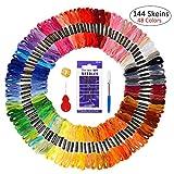 Hilos de bordado, 144 madejas, hilo de punto de cruz de color arcoíris, kit de costura con 5 herramientas de bordado gratis para bricolaje, manualidades, pulseras de la amistad (48 colores)